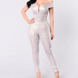 Fashion Nova Silver Off Shoulder Jumpsuit